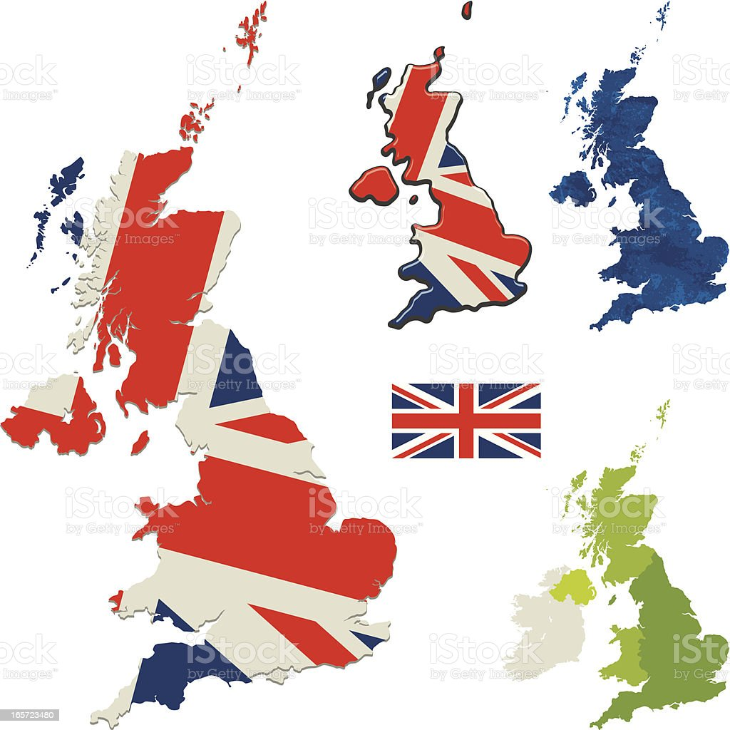 UK flag and map royalty-free stock vector art