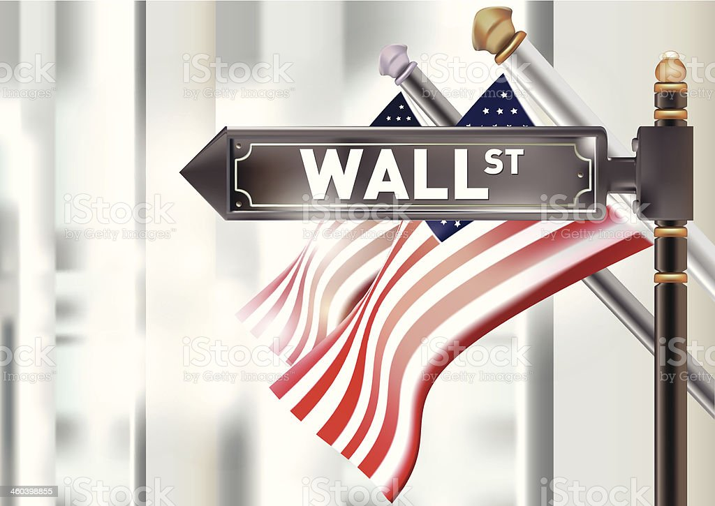 U.S. Flag and the Wall street sign. vector art illustration