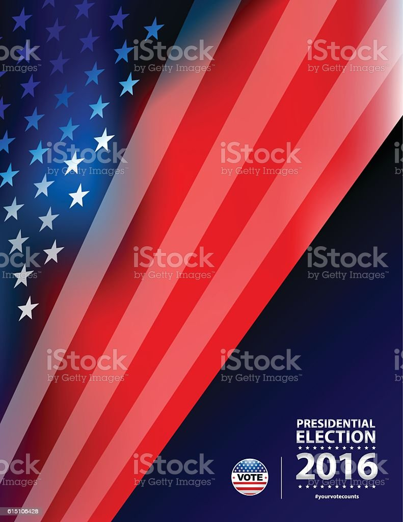 USA flag background and Presidential Election Vote vector art illustration