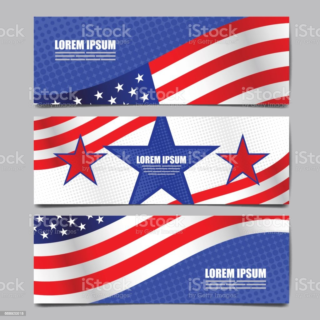 USA flag banner, layout template design, vector illustration. vector art illustration