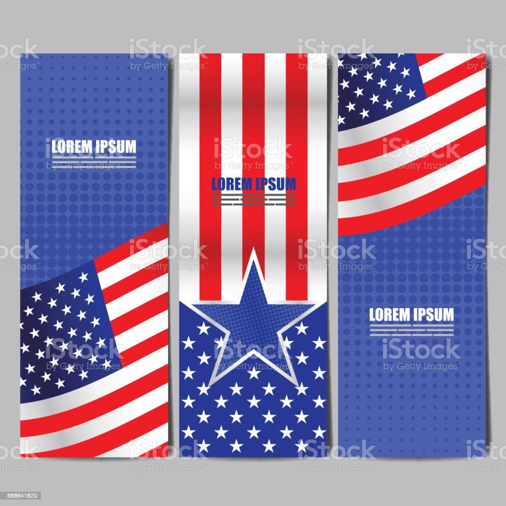 USA flag banner, layout template design, vector illustration. vector art illustration