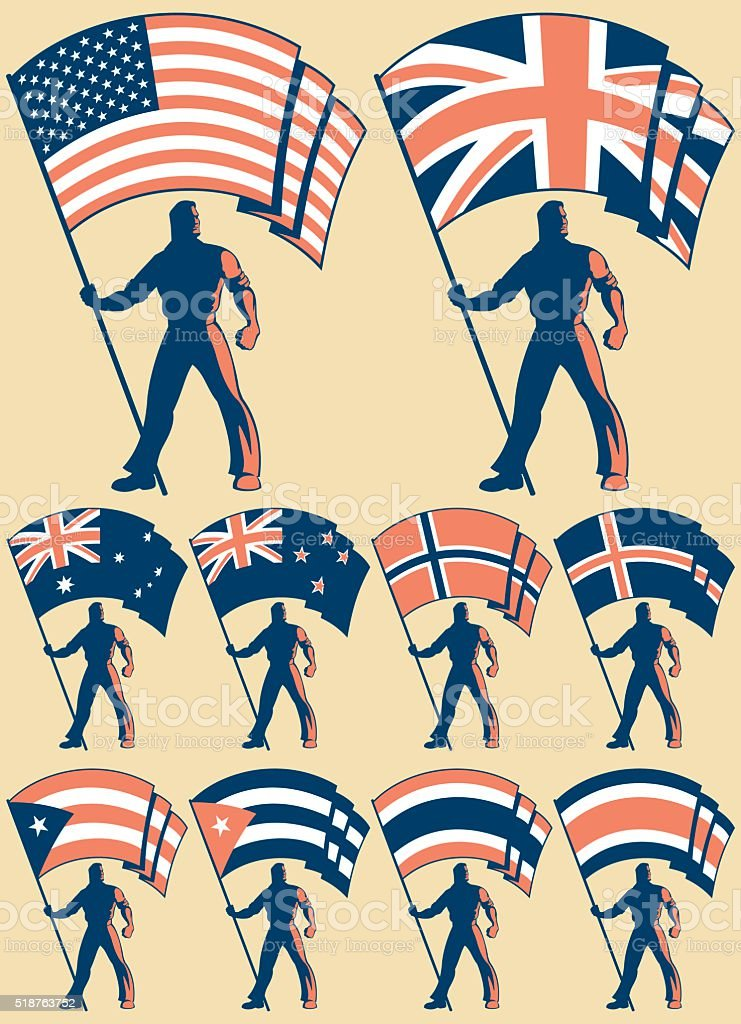 Flag Bearer 2 vector art illustration