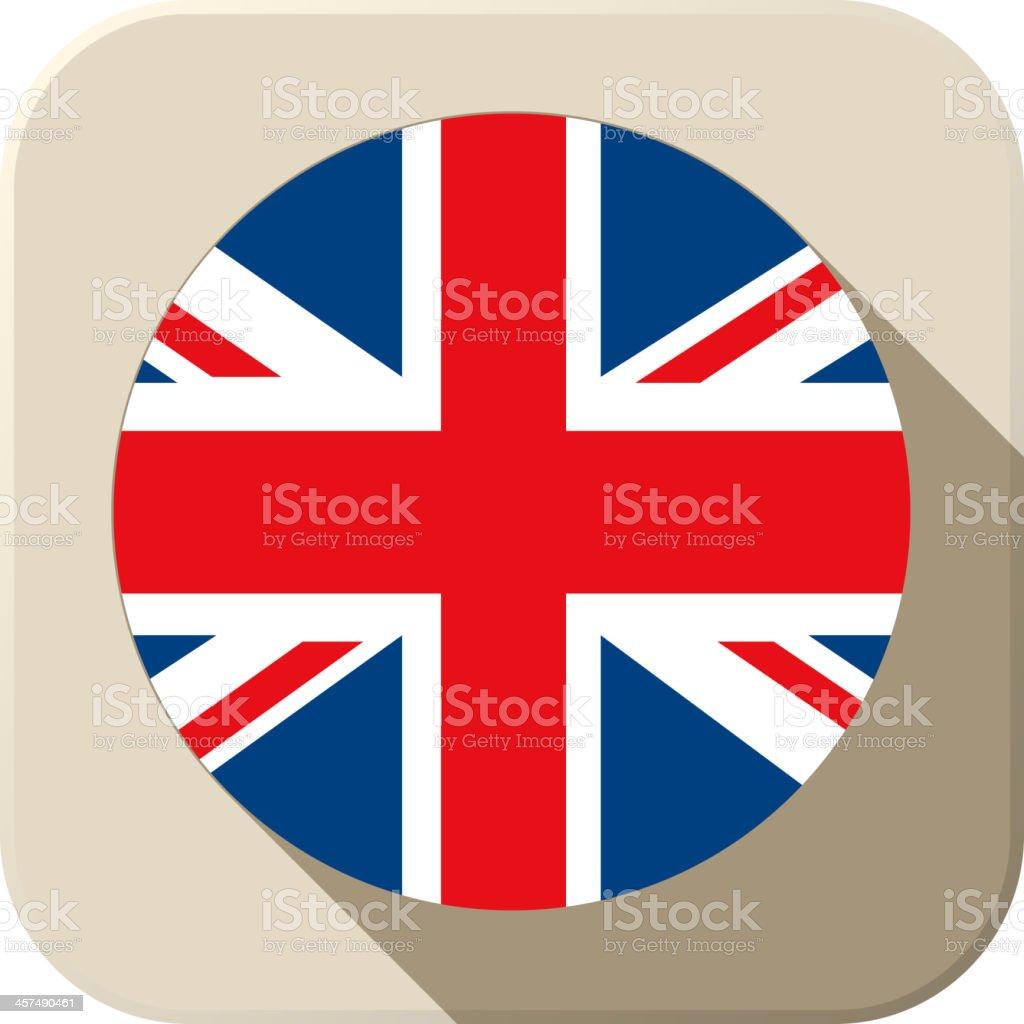 UK Flag Button Icon Modern vector art illustration