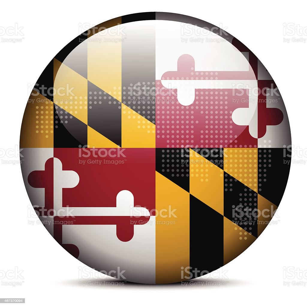 flag button of USA Maryland State vector art illustration