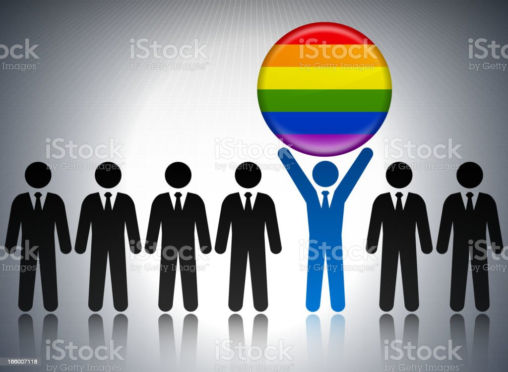 LGBT Flag Button with Business Concept Stick Figures royalty-free stock vector art
