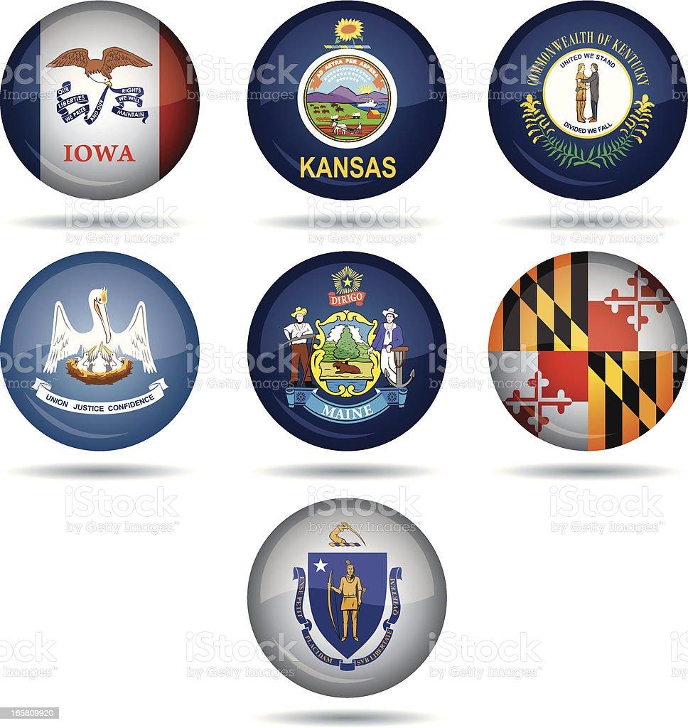 USA flag buttons vector art illustration
