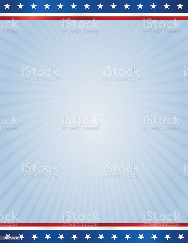 USA flag design template on blue rays background vector art illustration