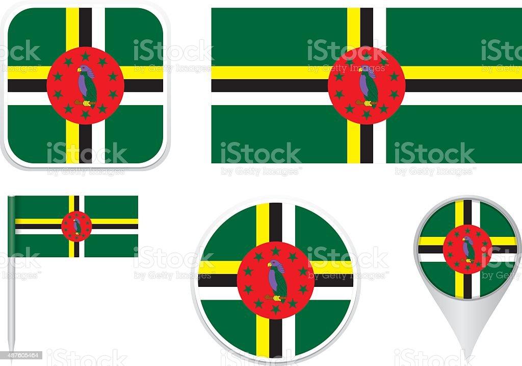 Flag Dominica vector art illustration