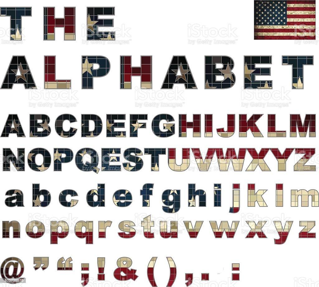 USA flag font vector art illustration
