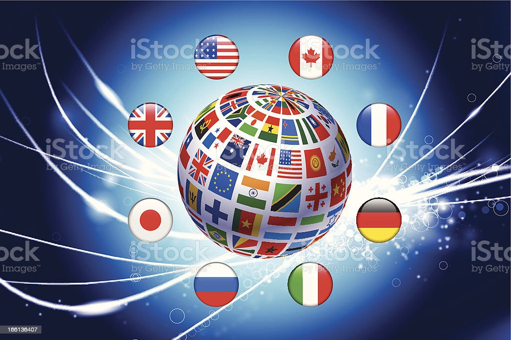 Flag Globe with Buttons on Abstract Fiber Optic Background royalty-free stock vector art