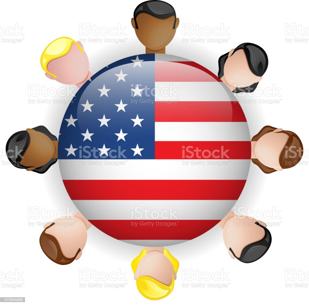 USA Flag Glossy Button with People royalty-free stock vector art