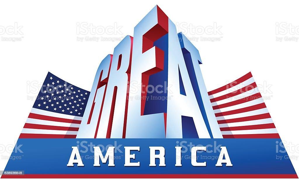 USA Flag Great America Proud Patriotism Word Assotiation vector art illustration