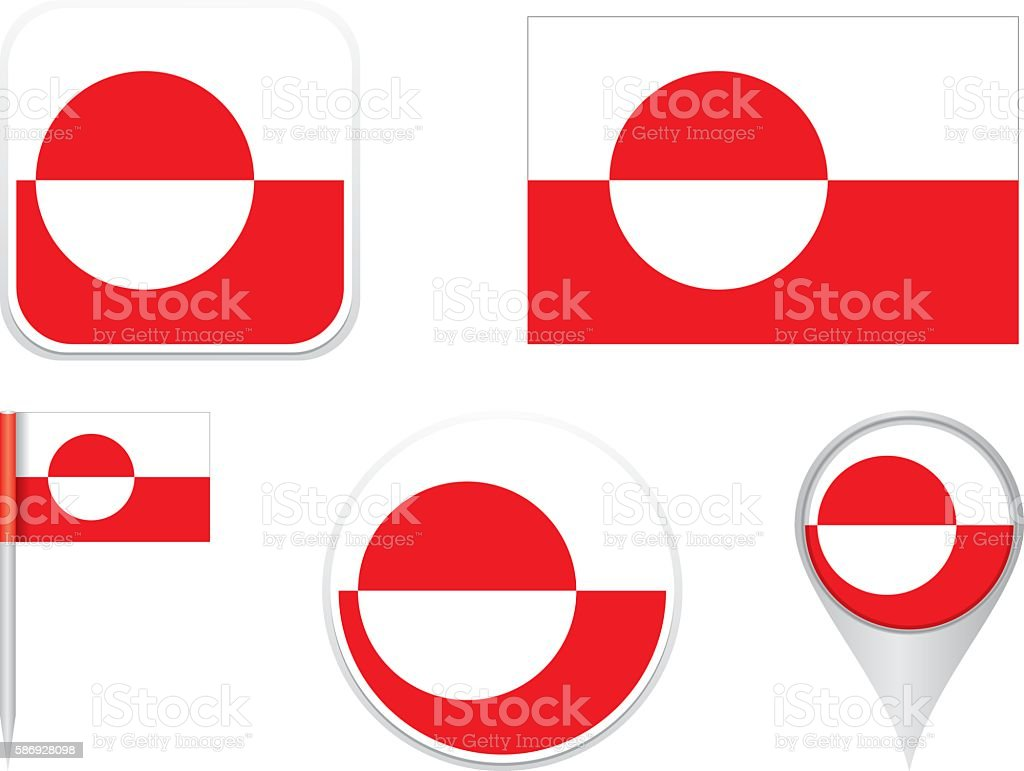 Flag Greenland vector art illustration