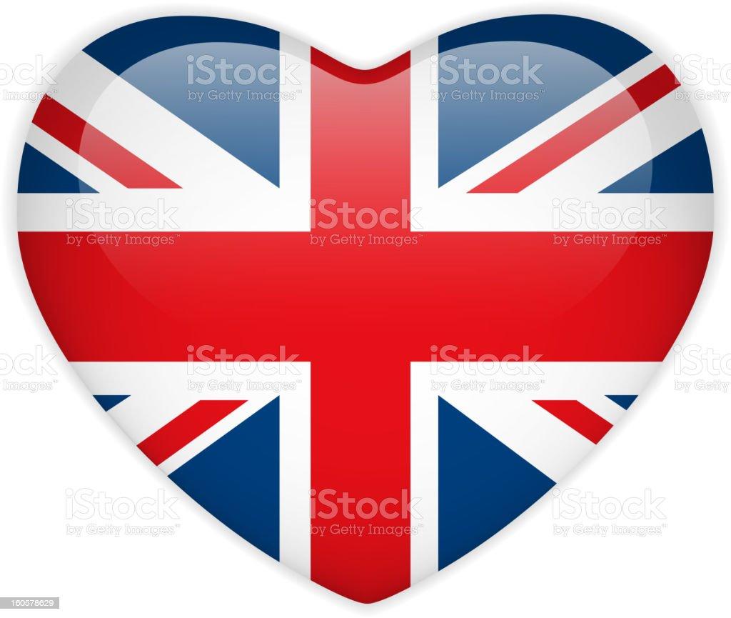 UK Flag Heart Glossy Button royalty-free stock vector art