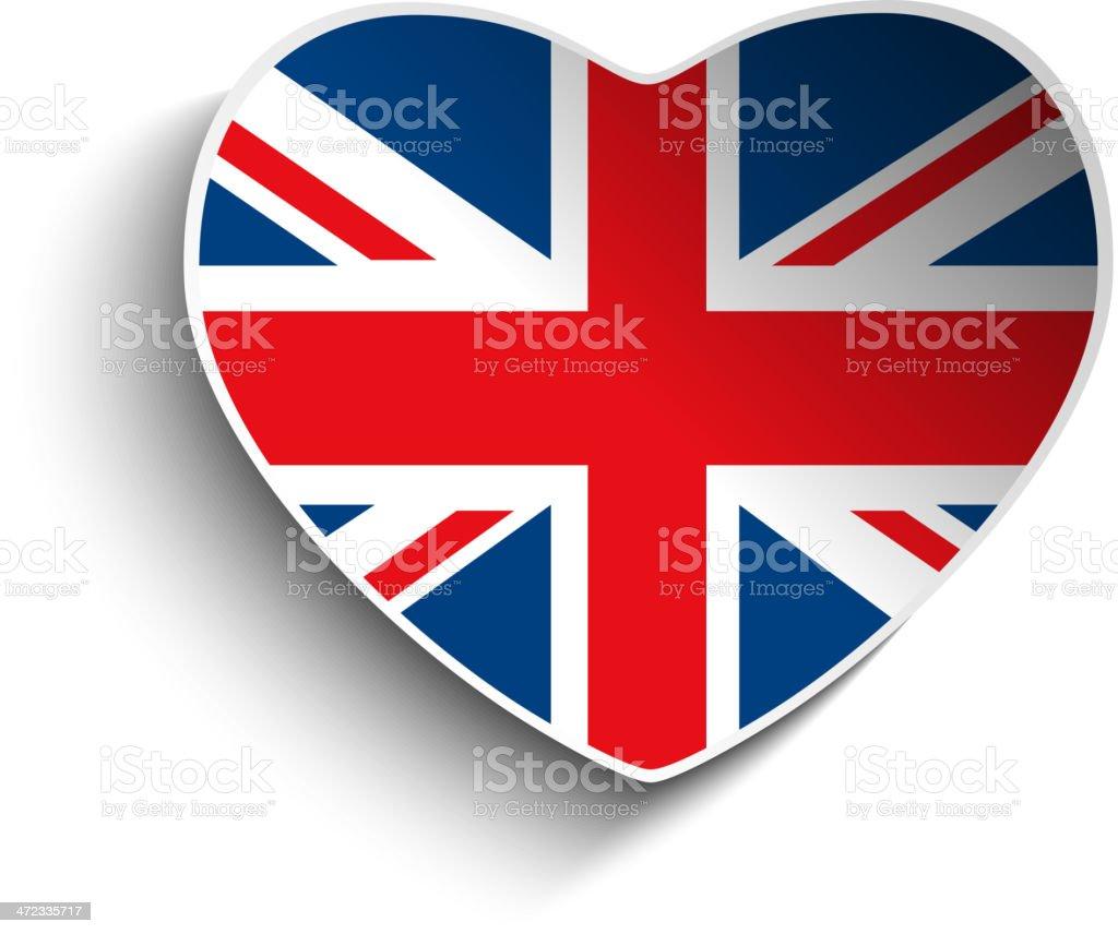 UK Flag Heart Paper Button royalty-free stock vector art