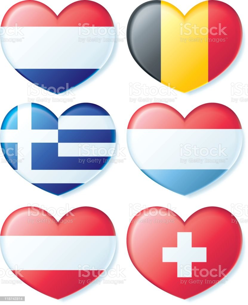 Flag Hearts - Europe royalty-free stock vector art