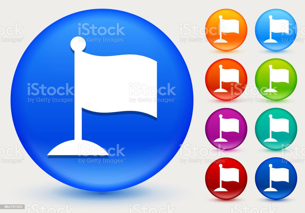 Flag Icon on Shiny Color Circle Buttons vector art illustration