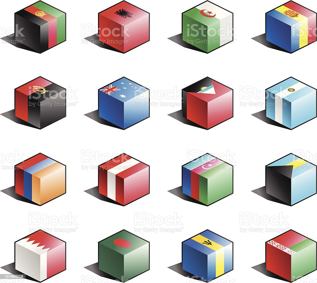 Flag icon set (part 1) vector art illustration