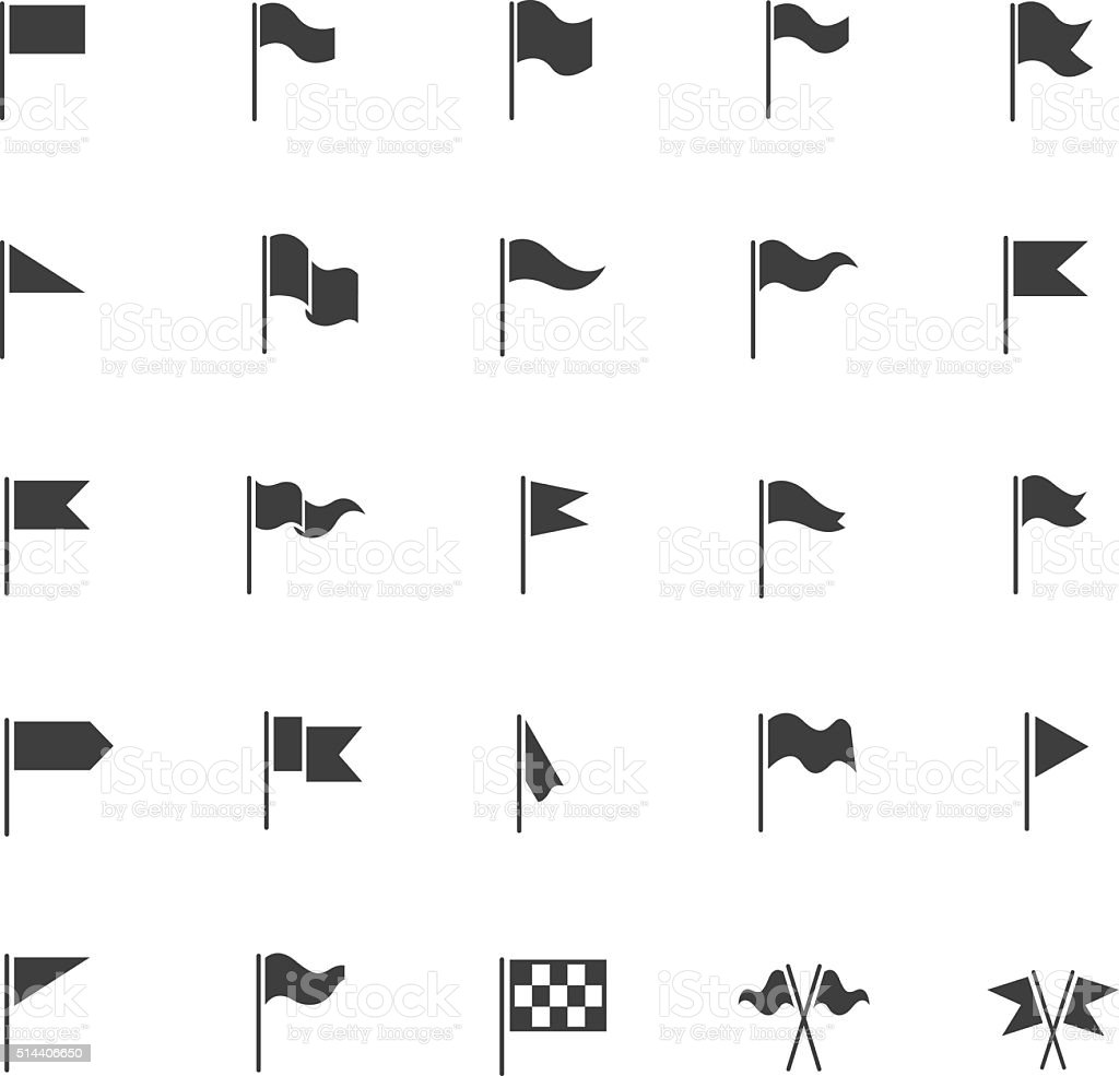 Flag icon set vector art illustration