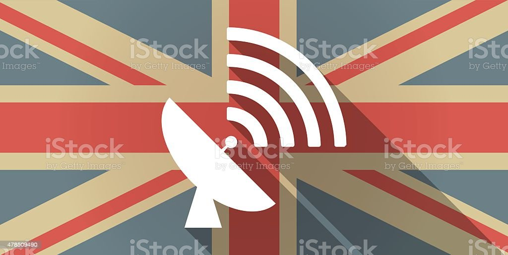 UK flag icon with a satellite dish vector art illustration