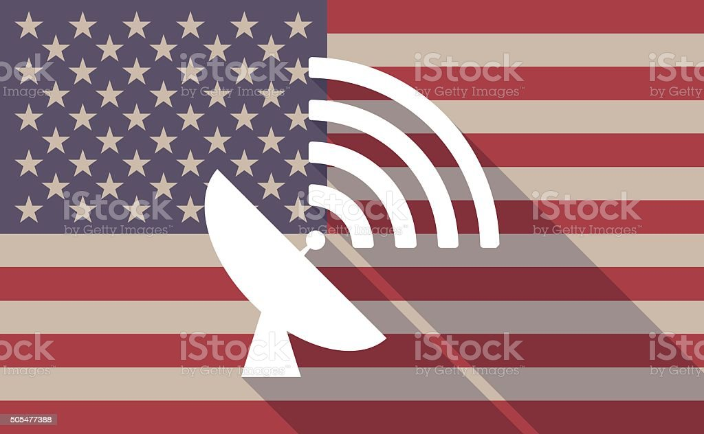 USA flag icon with a satellite dish vector art illustration