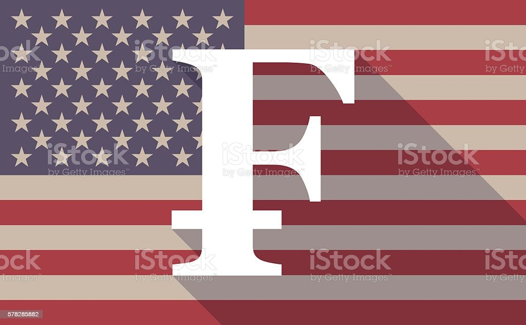 USA flag icon with a swiss frank sign vector art illustration