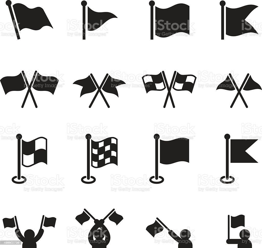 Flag icons set vector art illustration