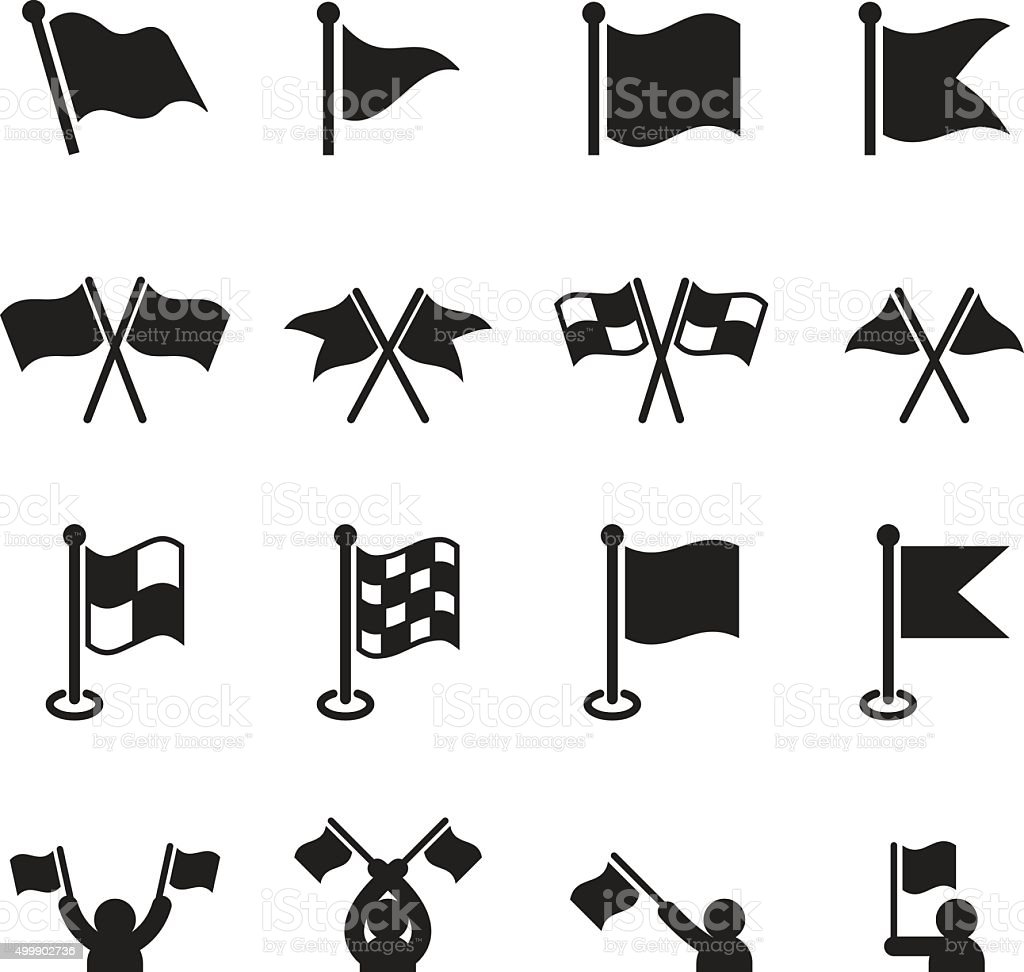 Flag icons set vector art illustration
