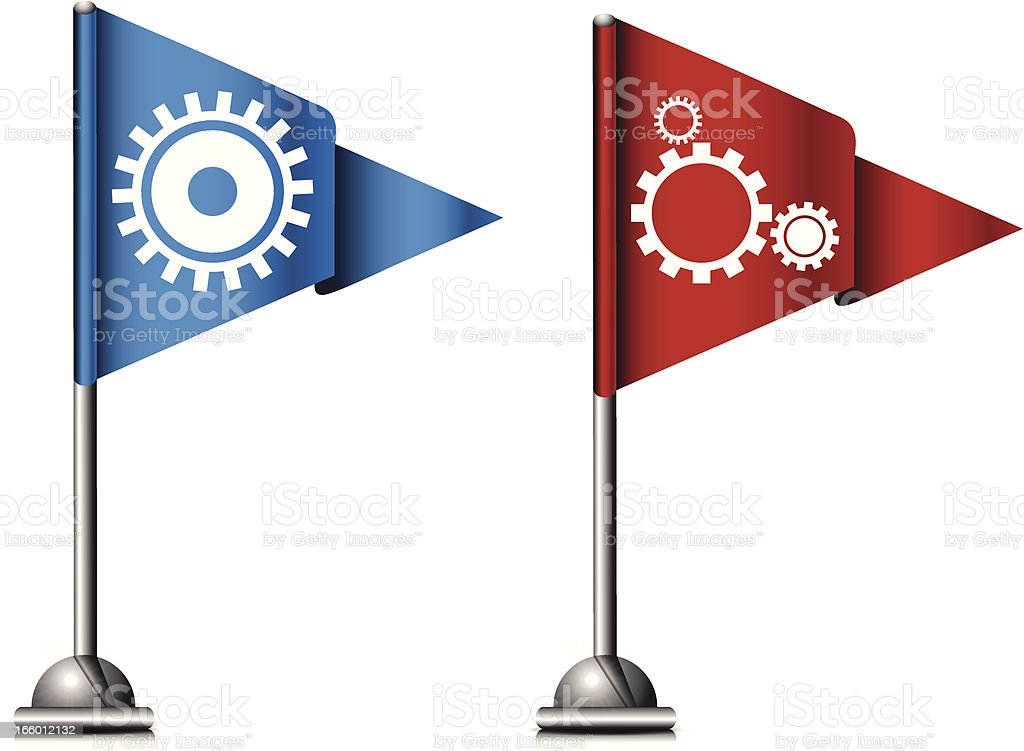 Flag Icons with Gears royalty-free stock vector art
