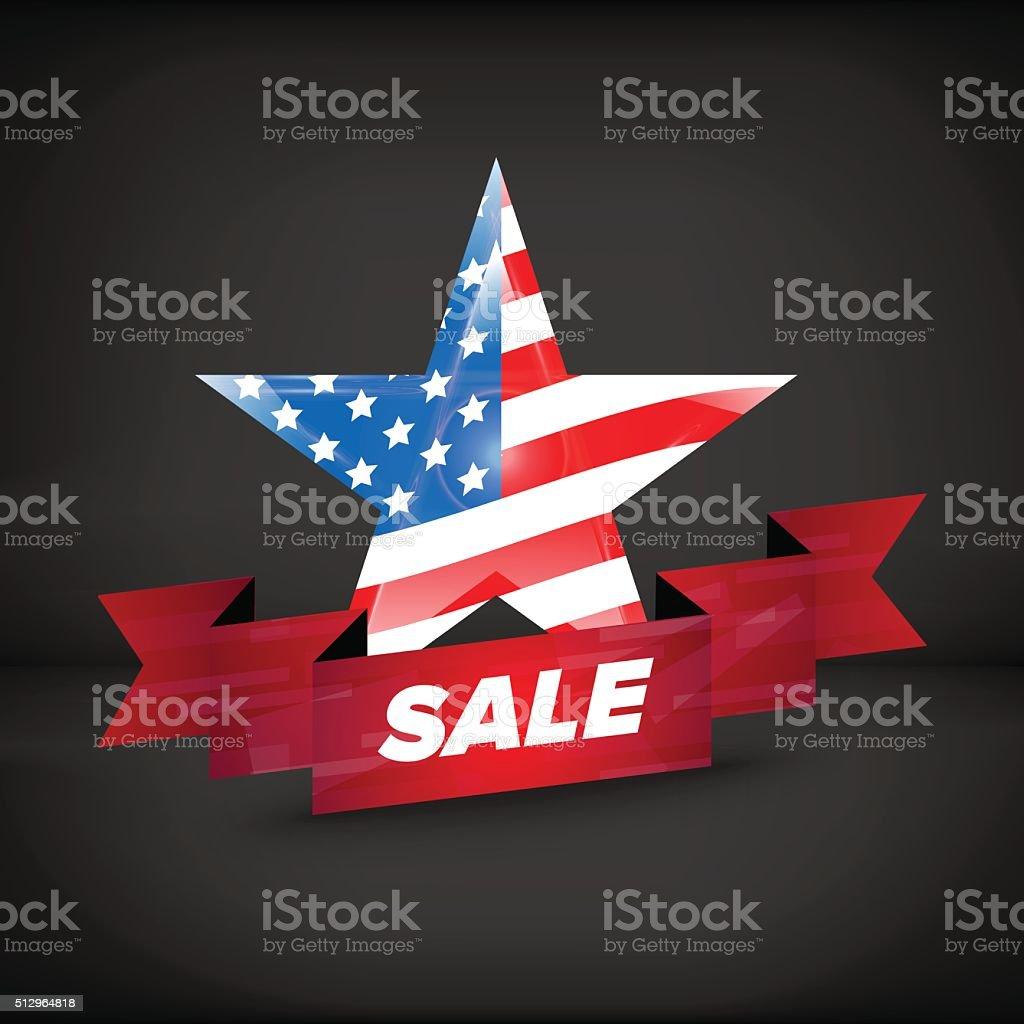 USA flag in a star vector art illustration