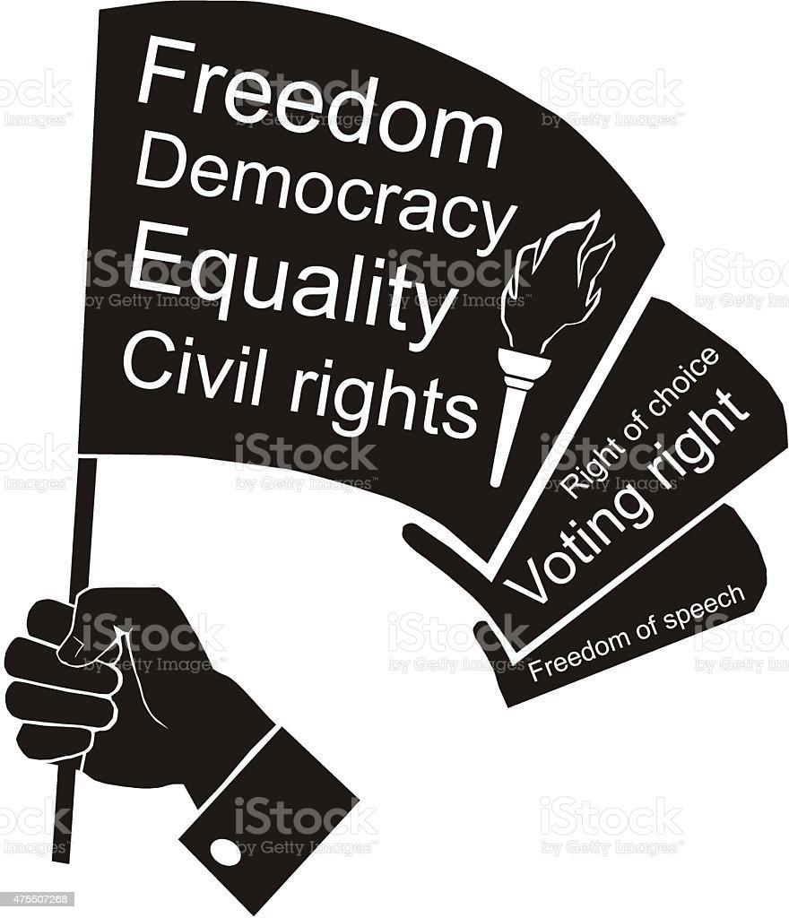 flag in hand, civil rights vector art illustration