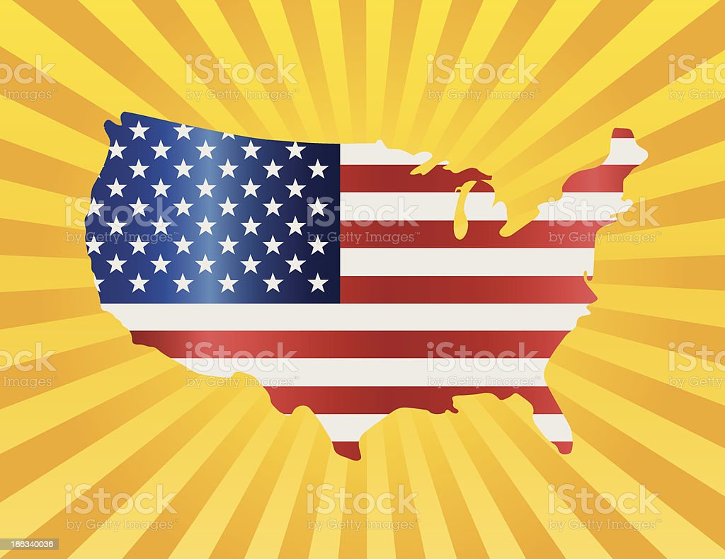 USA Flag in Map Silhouette Vector Illustration royalty-free stock vector art