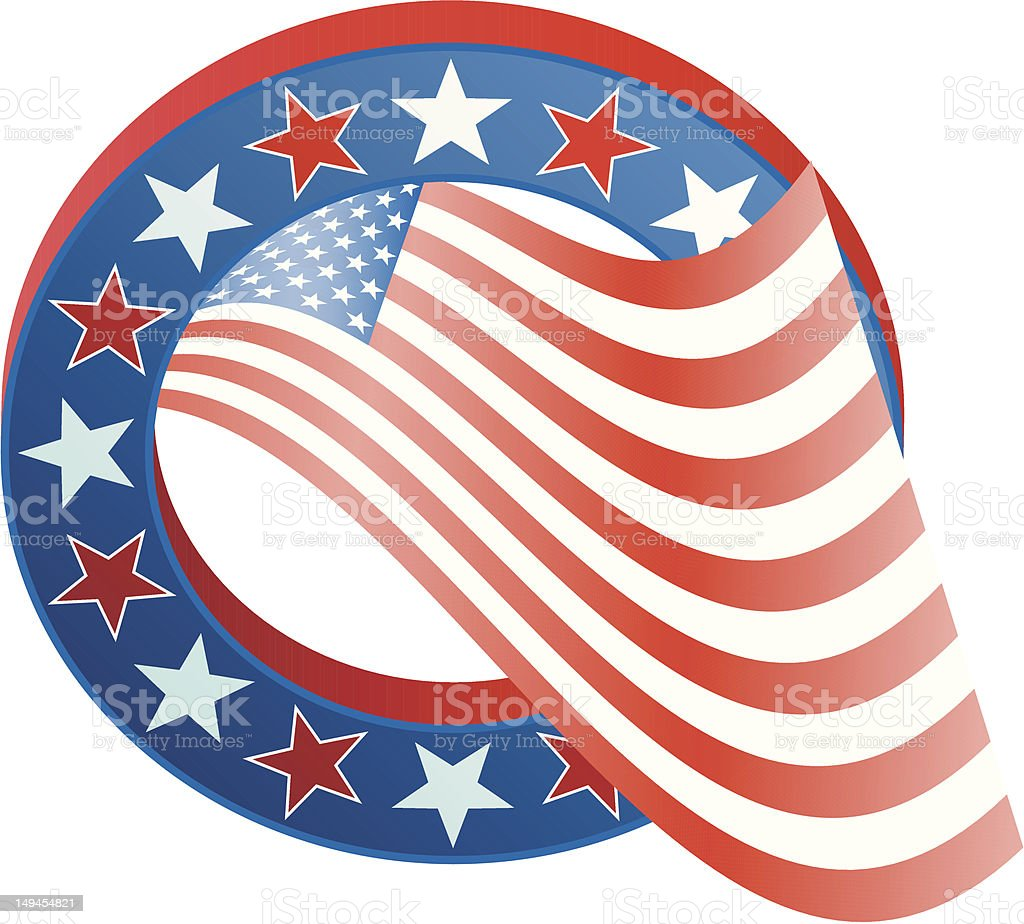 3D Flag (US) in Star Border royalty-free stock vector art