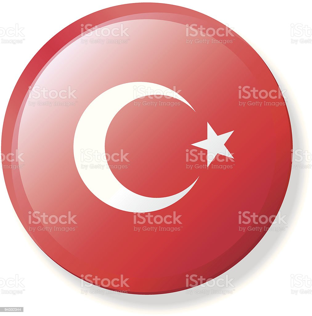 Flag Lapel Button - Turkey vector art illustration