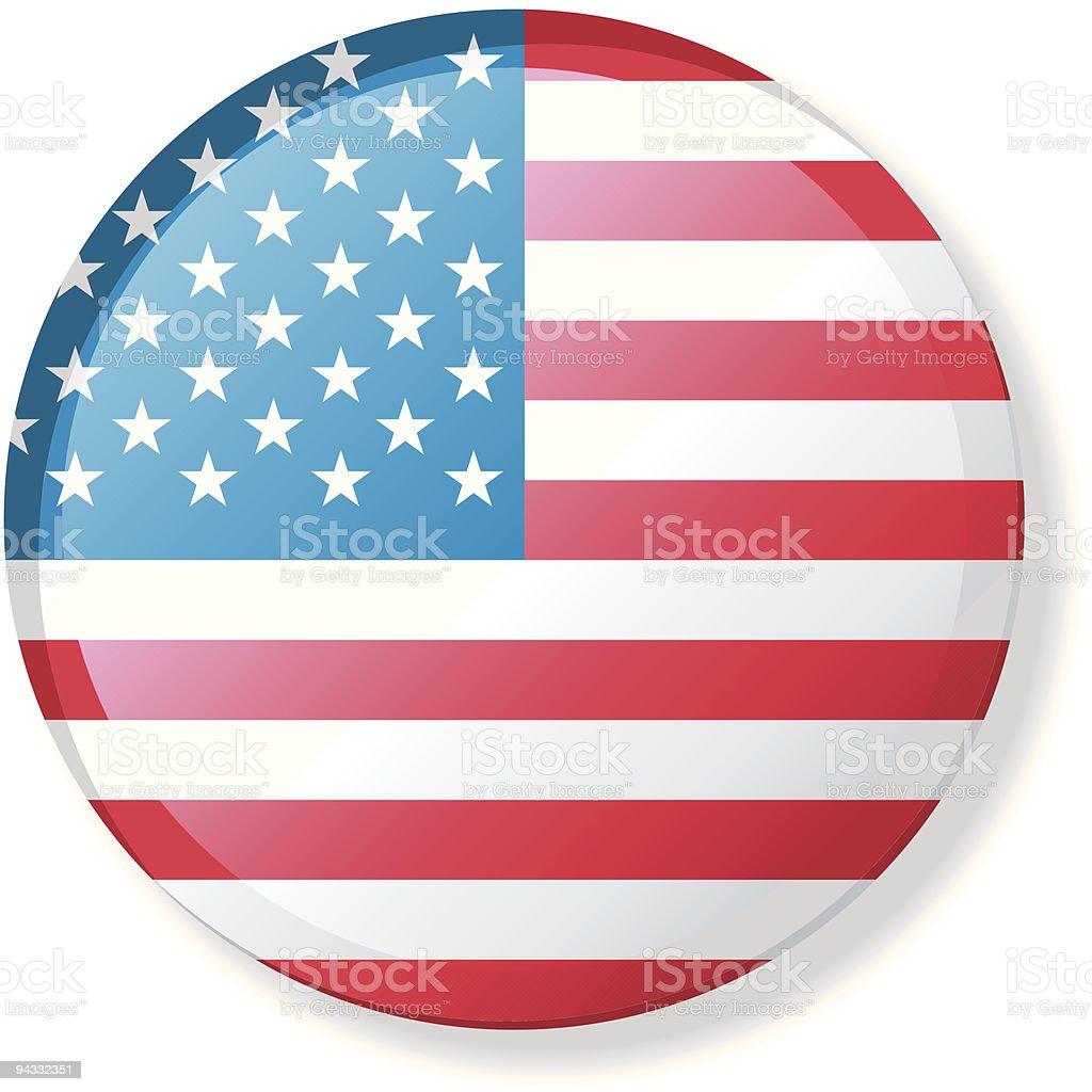 Flag Lapel Button - United States of America vector art illustration