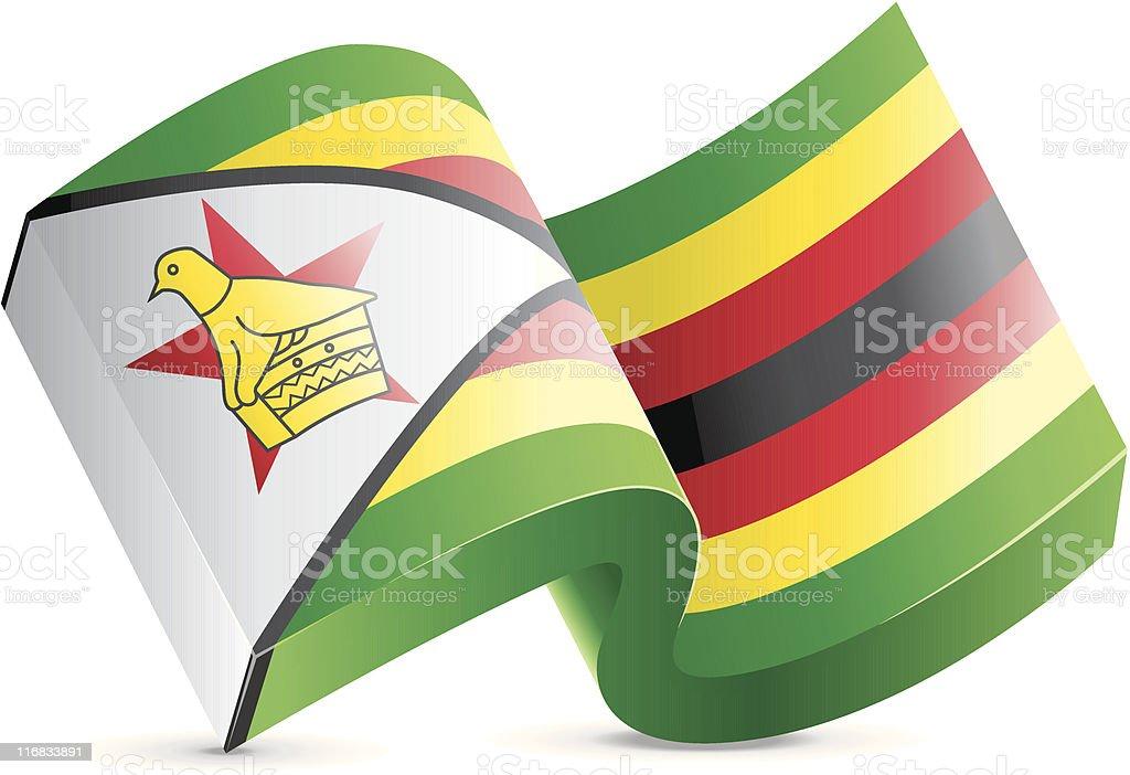 Flag Lapel Button - Zimbabwe vector art illustration