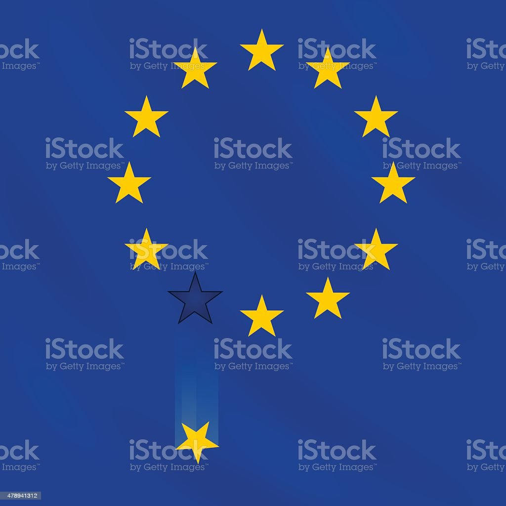 EU flag loses one star. vector art illustration