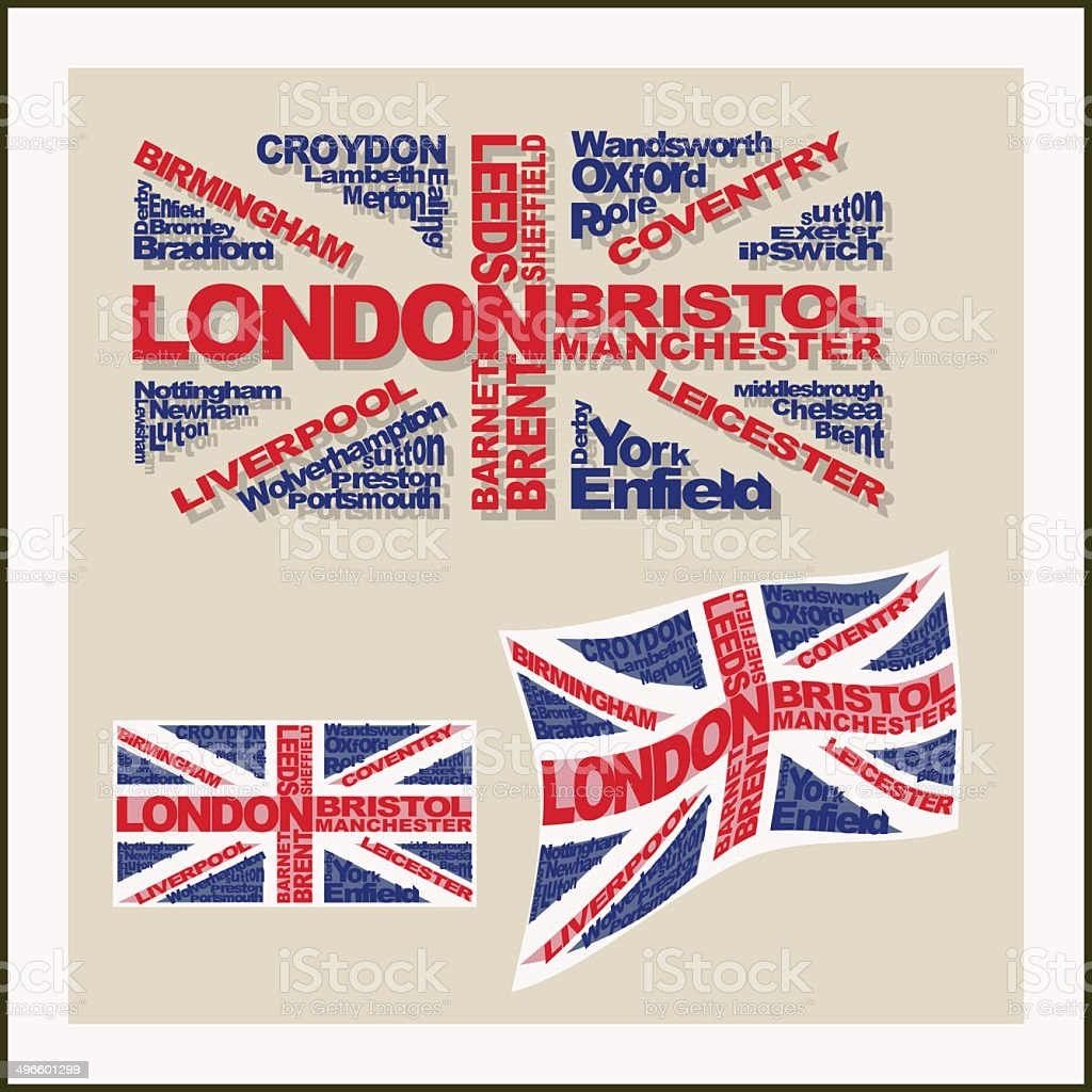 UK flag made ??of words major cities. Concept vector art illustration