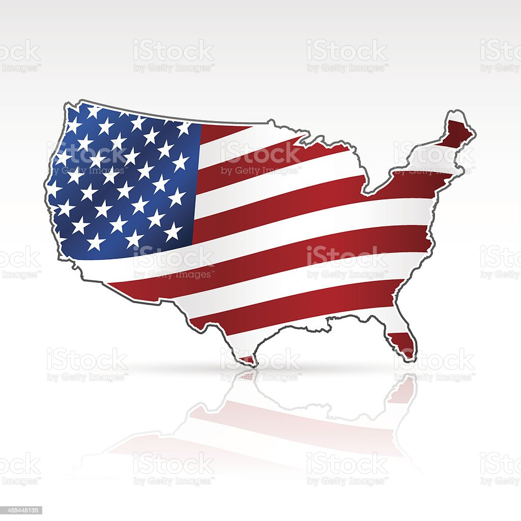 USA flag map royalty-free stock vector art