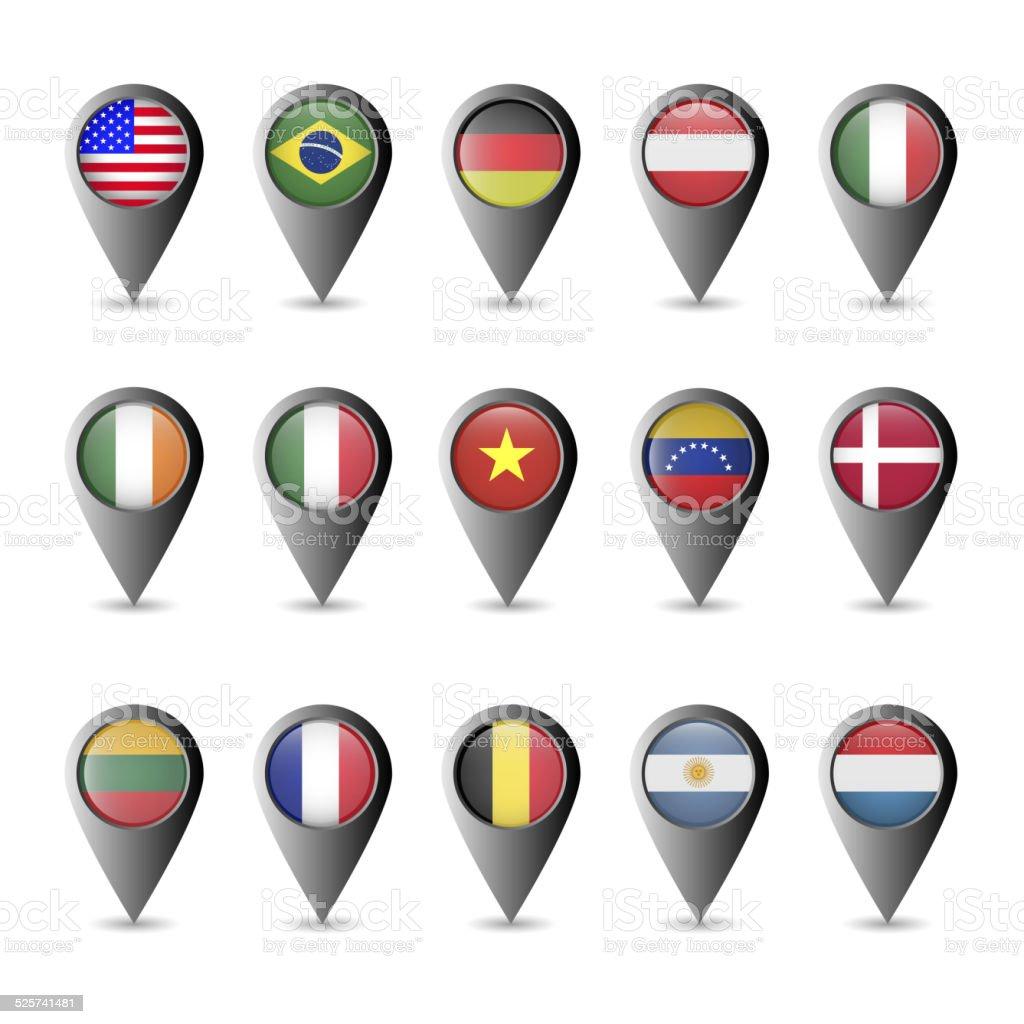 Flag markers vector art illustration