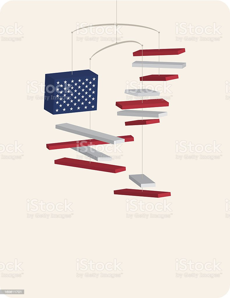 USA Flag Mobile Sculpture royalty-free stock vector art