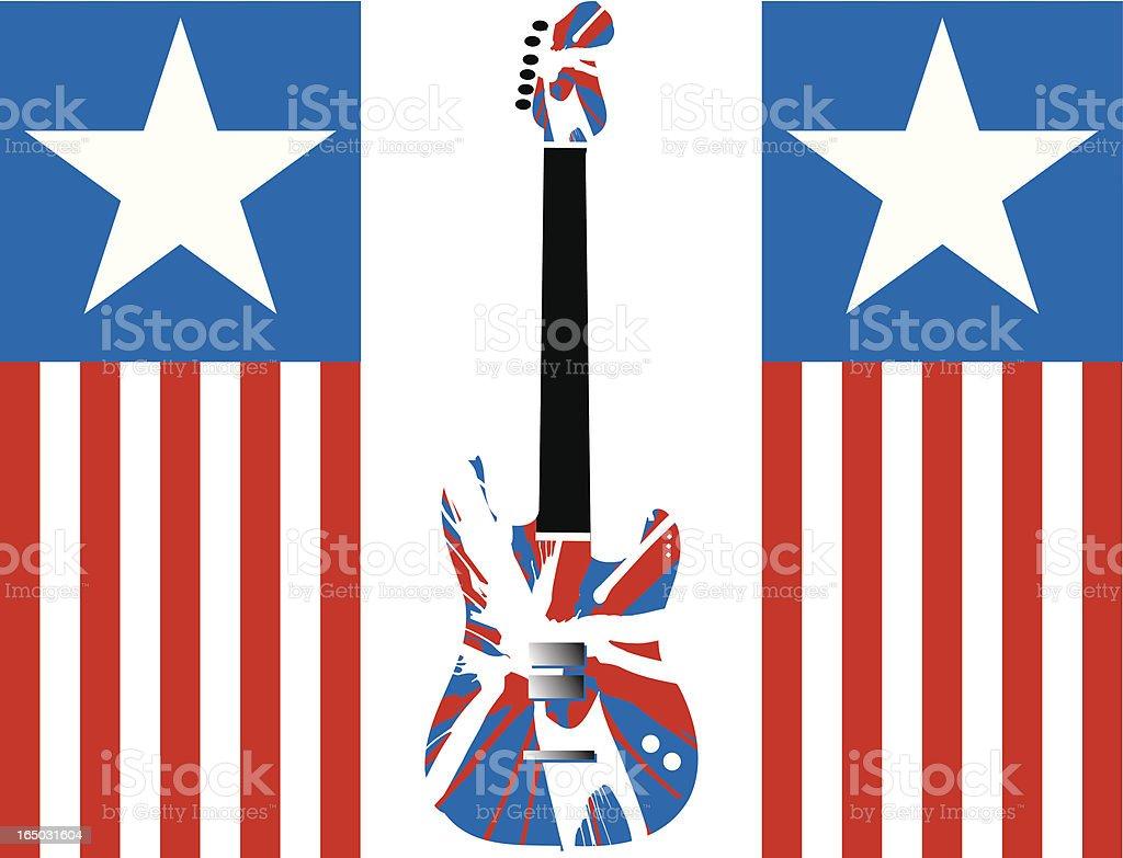 Flag n' Guitar (with Spin Art Design) Illustration royalty-free stock vector art