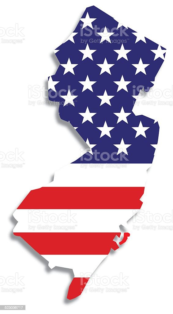 Usa Flag New Jersey Map Stock Vector Art IStock - Us flag map