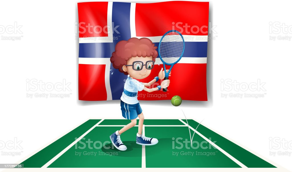 Flag Norway at the back of tennis player royalty-free stock vector art