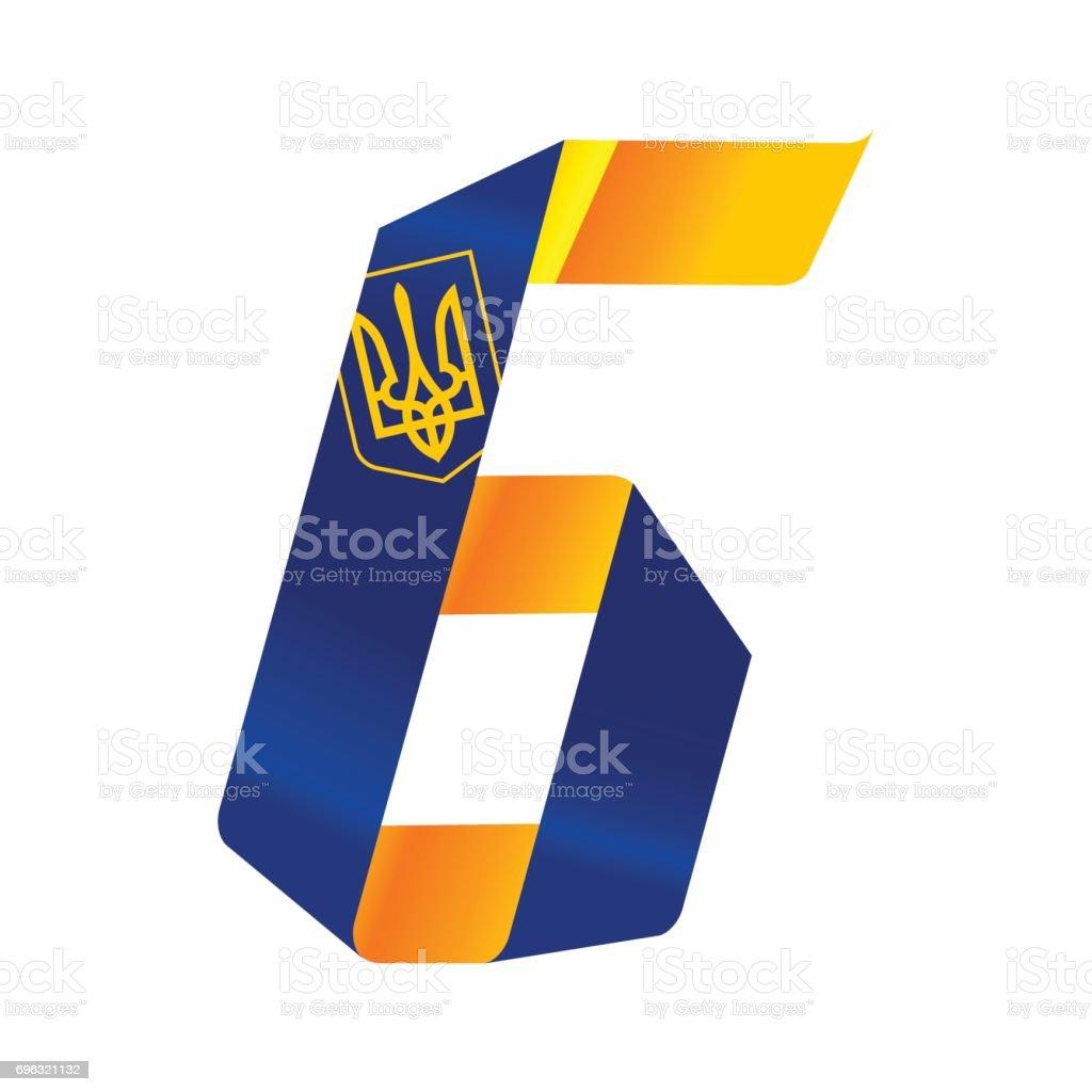 UA flag number six vector art illustration