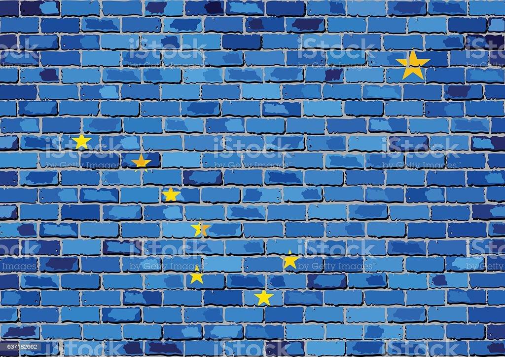 Flag of Alaska on a brick wall vector art illustration