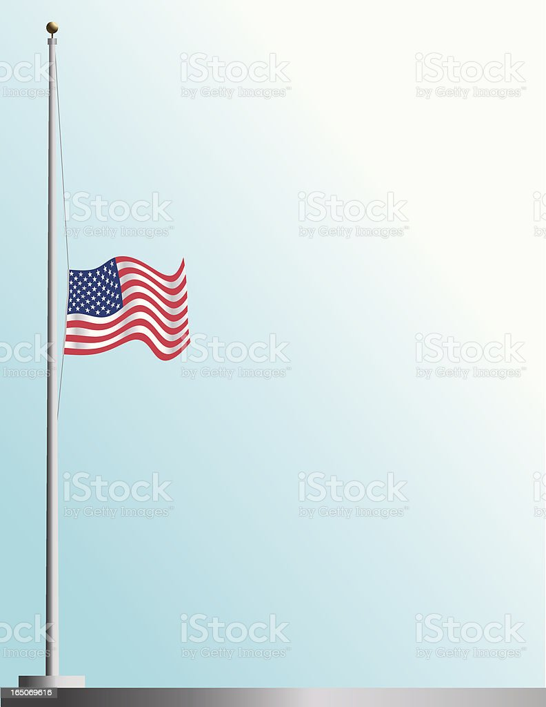 Flag of America at Half-Staff vector art illustration