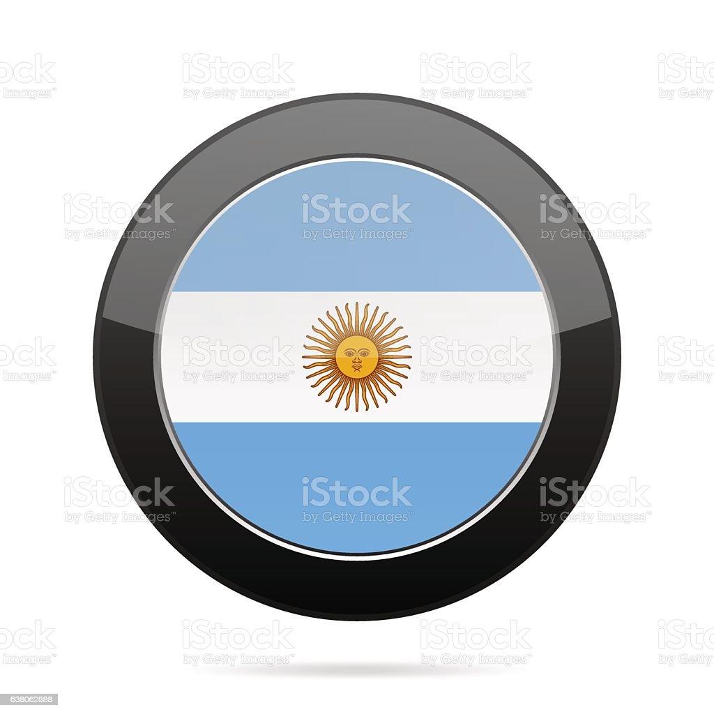 Flag of Argentina. Shiny black round button. vector art illustration