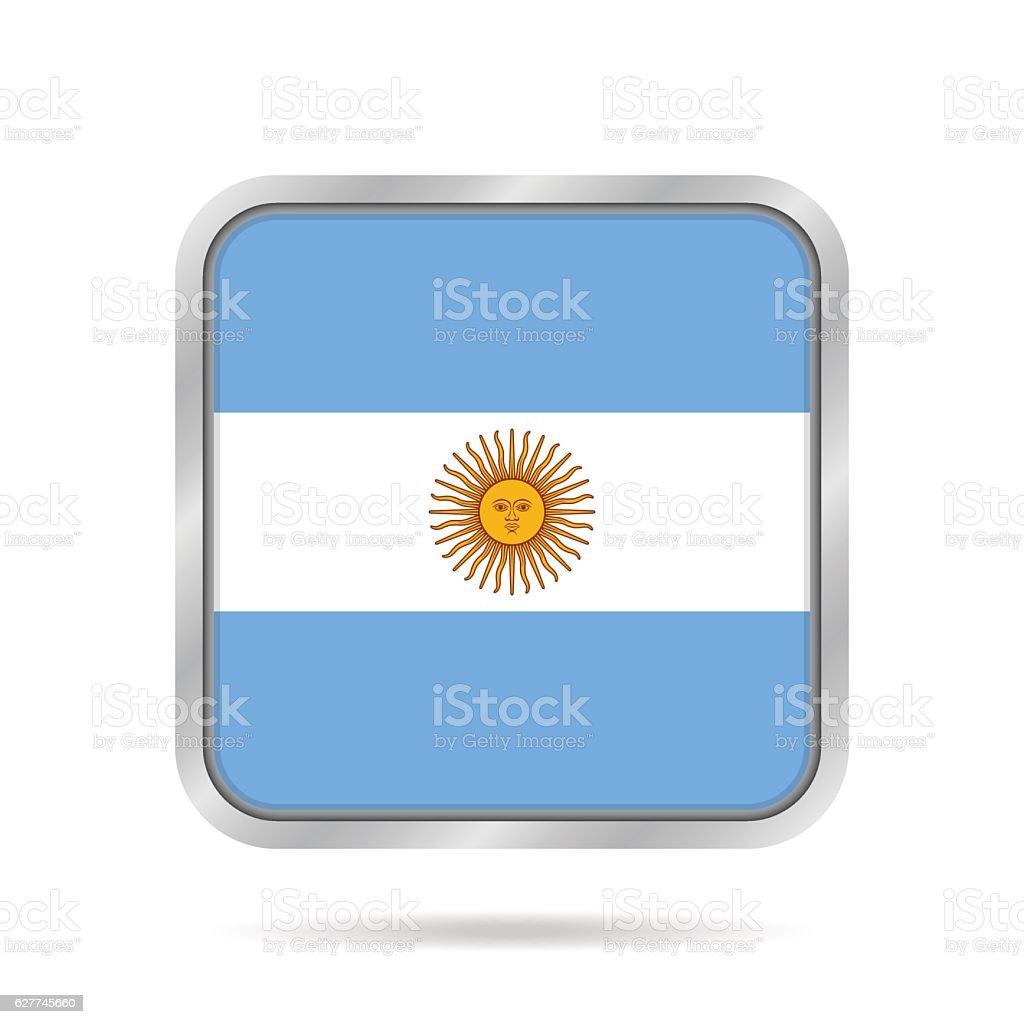 flag of Argentina, shiny metallic square button vector art illustration