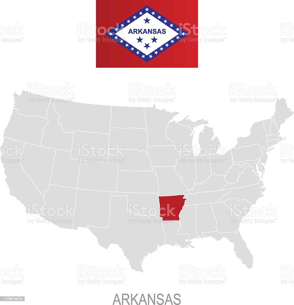 Flag Of Arkansas And Location On Us Map Stock Vector Art - Us map with arkansas